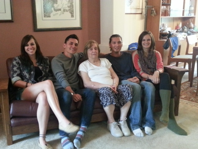 The matriarch of the Duncan family, Doris, with her 4 grandchildren - (left to right) Michelle Filler, 21, Kevin Wong, 28, Doris, Mike Wong, 25, and Sophia Duncan, 18