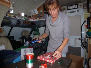 Roberta wraps Christmas gifts