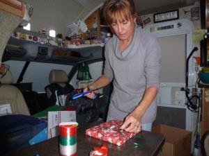 Roberta wraps Christmas gifts