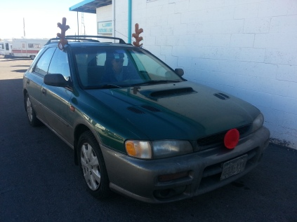 Even our Subaru got into the Holiday spirit =)
