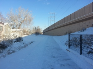 Snow on the path to the light rail