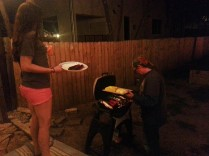 It was warm enough in Austin to have a BBQ in Mike's backyard one evening