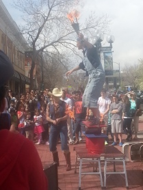 Easter Sunday entertainment on Pearl St. in Boulder