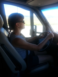 Roberta driving the RV