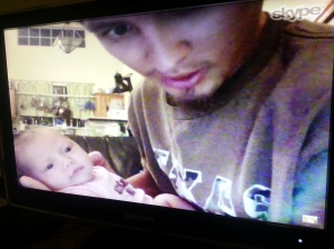 Mike and Eva Skyping with Great-Grandma
