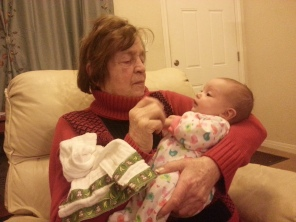 BockBock (Great-Grandma) holding Eva for the first time