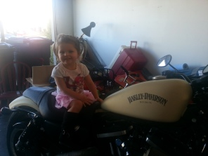 Harley on her daddy's Harley