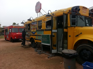 "Our California friend Jeff ordering lunch from ""The Short Bus"" at Mueller Food Truck area"