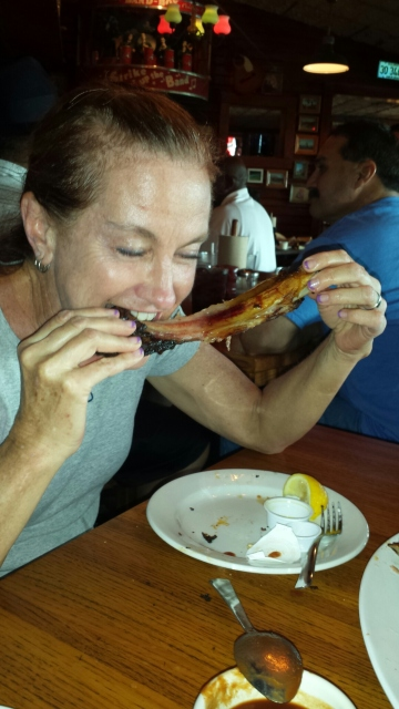 Roberta eating ribs???